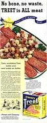 1943 - All-Purpose Meat? (clotho98) Tags: illustration vintage magazine recipe spam lunchmeat wwii ad meat ephemera 1940s gross obrien canned forties advertisment 1943 treet armours allpurpose rationing womanshomecompanion