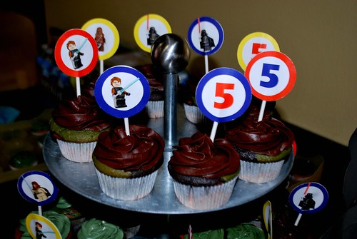 Close-up view of Star Wars cupcake toppers