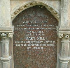 Allison Family, Cambusnethan Burial Ground, Wishaw, Scotland (Grangeburn) Tags: cemetery scotland graves churchyard tombstones gravestones lanarkshire cambusnethan wishaw