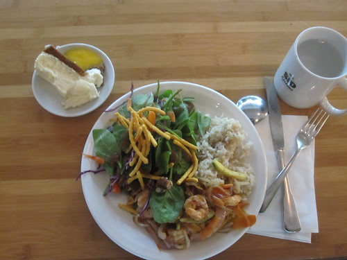 shrimp medley, veggies, salad, rice, cheesecake from bistro - $6