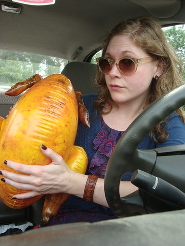 Take the wheel, inflatable turkey!