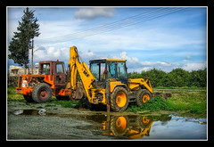 Excavators HDR (Mike G. K.) Tags: trees sky reflection water grass canon puddle cyprus ixus jpg hdr gravel digger limassol kolossi buldozer excavators lemesos 1exp singlejpghdr