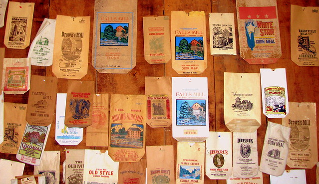Collection of bags of mill flour at Falls Mill