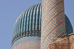 Dome and Minaret of the Guri Amir Mausoleum (**El-Len**) Tags: travel architecture tile minaret mausoleum dome silkroad uzbekistan centralasia samarkand timur tilework 15thcentury samarqand fluted fav10 tamerlane guriamir tinurid