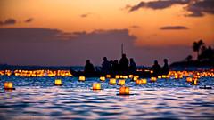 Lantern Floating Hawaii Ceremony (2010) (Rex Maximilian) Tags: ocean sunset sea beach lights pacific shore lantern memorialday alamoanabeachpark