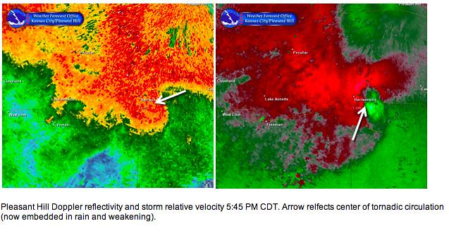 Harrisonville tornado radar 2 6-8-10