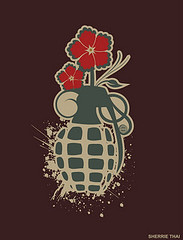 Grenade with Flower Blossoms (shaire productions) Tags: red streetart abstract flower green art nature floral beauty leaves shirt illustration digital army design artwork flora graphics war paint peace graphic drawing earth decorative destruction military blossoms decoration arts objects tshirt creation weapon vase designs concept conceptual decor grenade fragile tee vector splatter apparel handgrenade sherriethai shaireproductions