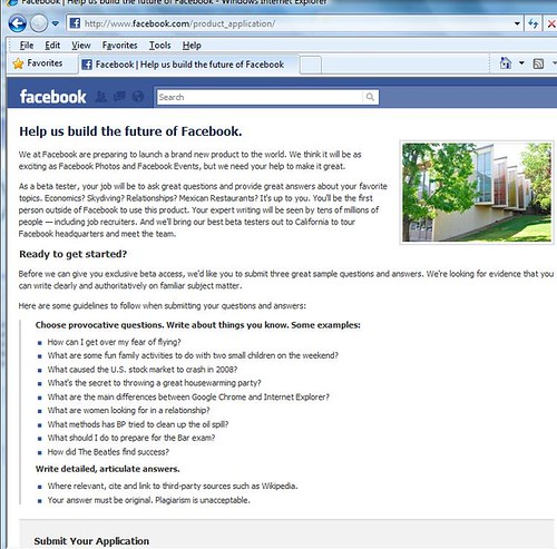 Facebook Beta Tester Application