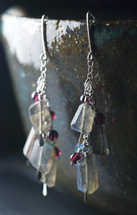 Labradorite and Garnet Sterling Silver Dangle Earrings by Moss & Mist Jewelry (Moss & Mist Jewelry) Tags: blue red fashion silver movement hammered purple stones cluster gray jewelry romance swing handcrafted sterling earrings smoky etsy dangle sway deepred garnet lightblue darkred iceblue labradorite semiprecious gemstone longearrings sterlingsilver fashionjewelry wirewrapped silverearrings gemstoneearrings garnetearrings lightgray finejewelry earwires genuinegemstones
