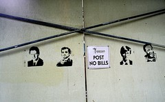 Post No Bills (Georgie_grrl) Tags: stencils toronto ontario wall graffiti construction downtown pentaxk1000 postnobills billclinton billgates billcosby billmurray bathurststreet cans2s rikenon12828mm