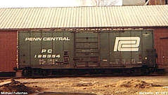 Penn Central Hi Cube box car. Herkimer New York. 1974.
