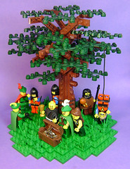 A hard day's knight (DARKspawn) Tags: tree castle gold lego fig dio minifig vignette robinhood trap diorama minifigure robery vig forestmen collectableminifigures