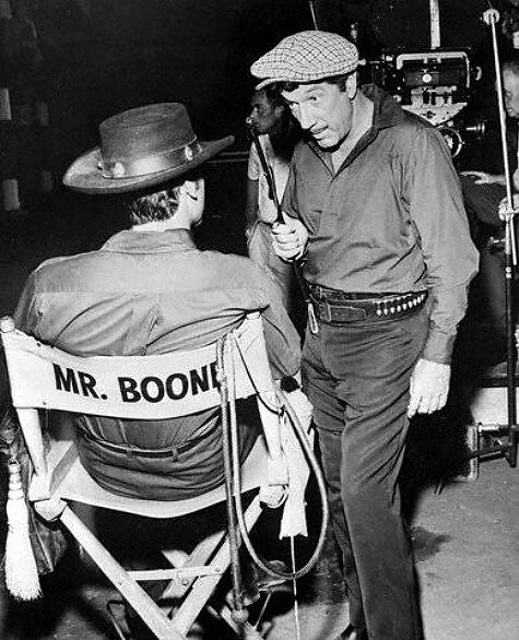 Boone (standing) on set of Have Gun, Will Travel