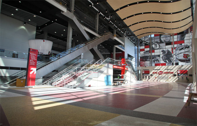 Lobby of Louisville's new KFC Yum! Center (Courtesy Louisville Arena Authority)