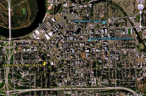 location of Caroline St & the two churches (via Google Earth)