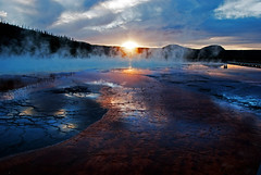 Bacterial mat of Grand Prismatic spring (WorldofArun) Tags: nature nikon montana biosphere september explore planet yellowstonenationalpark yellowstone wyoming geyser bacteria thermal 2010 ecosystem 18200mm supervolcano thermalvent thermophilicbacteria d40x greateryellowstoneecosystem worldofarun arunyenumula