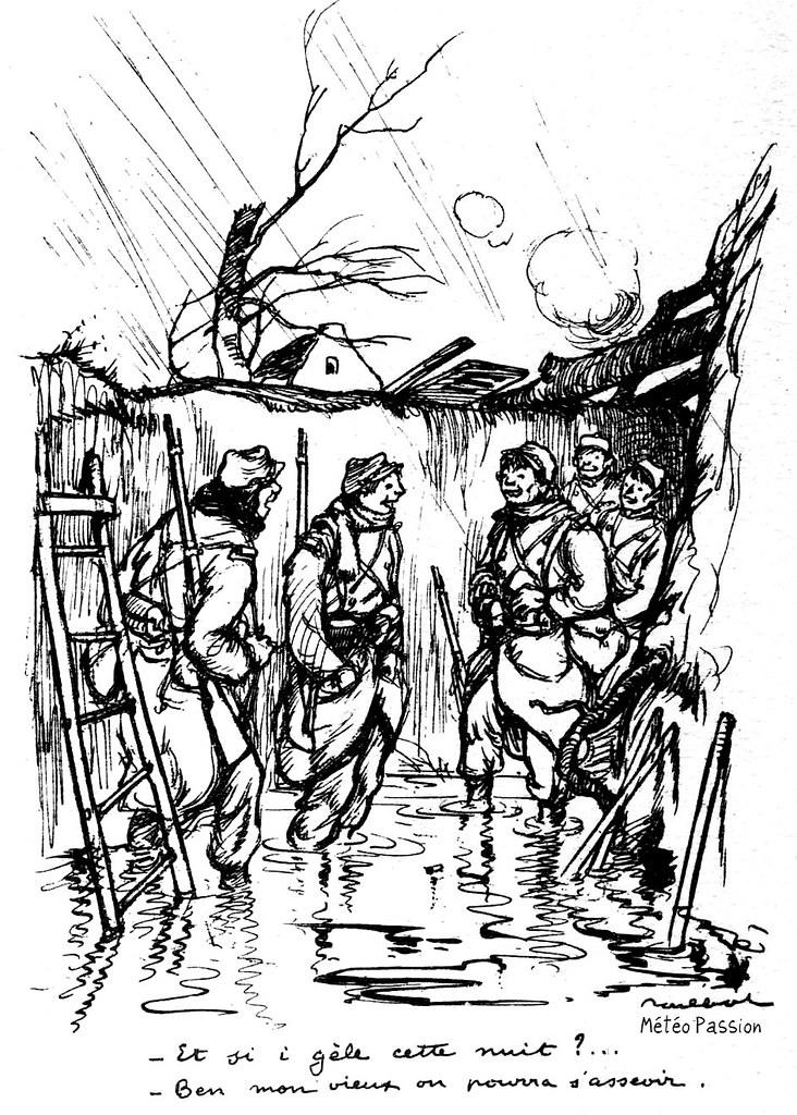 dessin humoristique sur les conditions de vie des poilus dans les tranchées pendant la première guerre mondiale 1914-1918