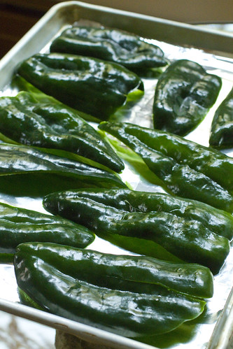 poblanos on sheet pan