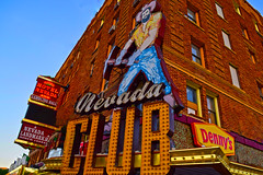 Nevada Club in Ely, Nevada (oybay©) Tags: hotel nevada ely neon sign club casino gambling stretch limousine limo miner pick axe flag lodging brick building night us 50 highway hdr light bright signage old west nikon notte malam architecture city complex