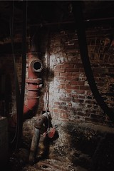 RED PIPE (marie-franceballeux) Tags: lostplace creepy dark abandoned underground oldfactory exploration rust dirty abandonedplace old factory pipe urbex