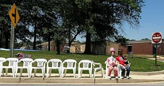 Patriotic patience is a virtue ... (A CASUAL PHOTGRAPHER) Tags: maryland catonsville baltimorecounty parades seating paraderoutes dummies fourthofjuly the4th mannequins lawnchairs furniture suburbs cellphonephotos mobilephonephotos