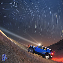 Heading North (Jamal Alayoubi) Tags: blue night star nikon long exposure desert space spin fisheye trail toyota kuwait fj cruiser d3 jamal alayoubi