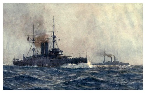 018- Acorazados HM Queen y King Edward VII-The Royal Navy (1907)- Norman L. Wilkinson