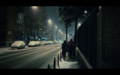 At night, under the falling snow.. (Dr Cullen) Tags: madrid street girls snow night nikon cinematic frontpage 35mmf18 explore1 drcullen d300s nikond300s
