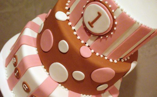 Brown & Pink 1st Birthay Cake
