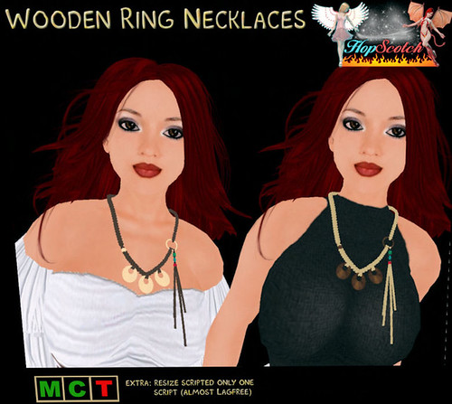 69L Wednesday Hopscotch wooden ring necklaces