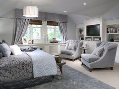 Candice Olson Bedroom (It's Great To Be Home) Tags: blue bedroom interiors traditional gray damask