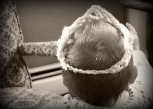 crocheted crown: back view