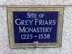 Photo of Grey Friars Monastery blue plaque