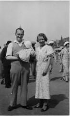 My Mum and Dad and elder sister, 1933 (wonky knee) Tags: uk baby seaside lancashire promenade blackpool mumdad 1933 blackpooltower blackpoolprom