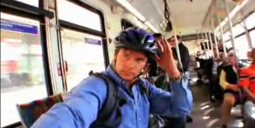 Car-free author and correspondent Chris Balish rides Metro Line 217.