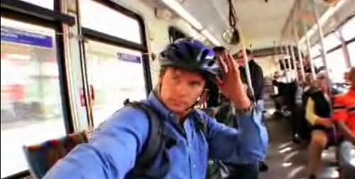 Car-free author and correspondent Chris Balish rides Metro Line 217.