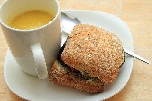 Eggplant Sandwich and Soup