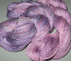 two skeins of spindle silk