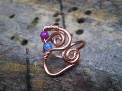 Copper ring (spiralcraft) Tags: blue red orange coral wire natural spirals turquoise wrapped jewelry ring jewellery earthy copper twisted gemstone carnelian tigerseye weaved