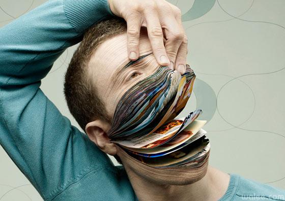 cabeza hecha de hojas de revistas