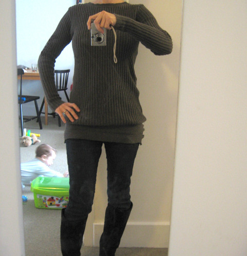 long brown sweater refashion (after)