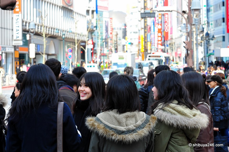 A group of friends out for the day in Shibuya.