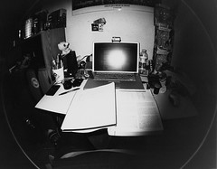 My Cluttered Desk. (Jason Sison) Tags: powerbook book g4 geography mighty mugg