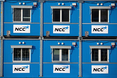 NCC Barracks (Rutger Blom) Tags: blue windows public constructionarea logo skne europa europe blauw sweden skandinavien ramen sverige scandinavia ncc barracks malm malmo scania zweden bl barack portakabin fnster skane malmo ef70200mmf4lusm ketens skanelan