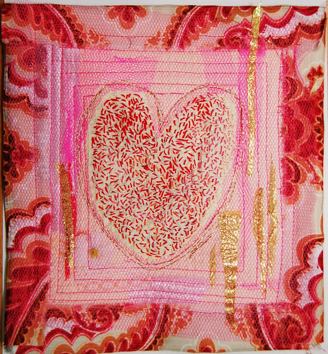Pink Sweet Heart - art quilt embroidery (Photo by iHanna - Hanna Andersson)