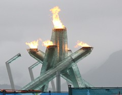 Vancouver 2010 (troutwerks) Tags: snow canada rain fog vancouver saturday flame olympics olympicflame northshoremountains 2010olympics vancouver2010 cauldrons gatesofmordor thegamesareon joiningthecrowds behindthebarricades