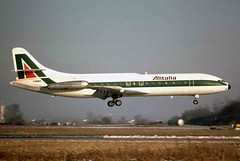 Alitalia SE 210-VIN Caravelle I-DABS LIN 1970s (AlainDurand) Tags: italy airliners airtransport linate worldairlines aviationaircrafts airlinesalitalia idabsse210 caravellese210caravellevin linmilanlinate