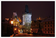Charles Bridge (paulmcdee) Tags: travel bridge winter cold castle architecture night canon lights republic czech prague gothic charles 5photosaday eos450d