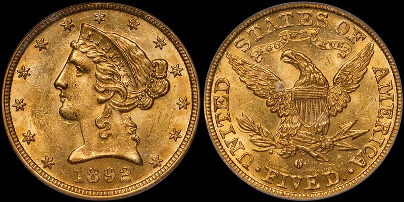 1892-O $5.00 PCGS MS62+