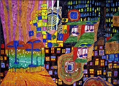 Hundertwasser, Friedensreich (1928-2000) - 1999 City View (Private Collection) (RasMarley) Tags: buildings cityscape mixedmedia 1999 painter jewish 20thcentury 1990s hundertwasser austrian cityview privatecollection friedensreichhundertwasser neoexpressionism